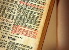 Image of Bible opened to St. Mark